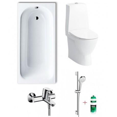 Komplektas pigiau: vonia, klozetas ir dušo sistema
