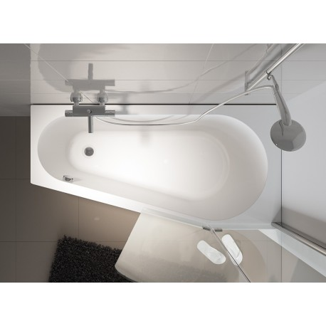 Kampinė vonia RIHO Delta 150x80 cm su kojelemis