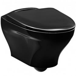 Juodas pakabinamas klozetas Gustavsberg Estetic su SoftClose dangčiu