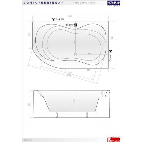 Neringa  vonia 150x94 cm