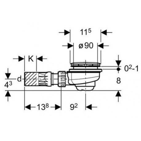 Geberit dušo padėklo sifonas UNIFLEX, 90 mm