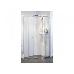 Silver dušo kabina 90x90cm, pusapvalė, stiklas skaidrus, profilis - sidabro spalvos (R550)