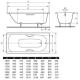 Saniform plus stačiakampės vonios techniniai duomenys